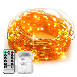 5/10M Waterproof Remote Control Fairy Lights Battery Operated LED Lights Decoration 8 Mode Timer String Copper Wire Christmas