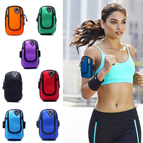 5 inch Sports Jogging Gym Armband Running Bag Arm Wrist Band Hand Mobile Phone Case Holder Bag Outdoor Waterproof Nylon Hand Bag - Cozzoo