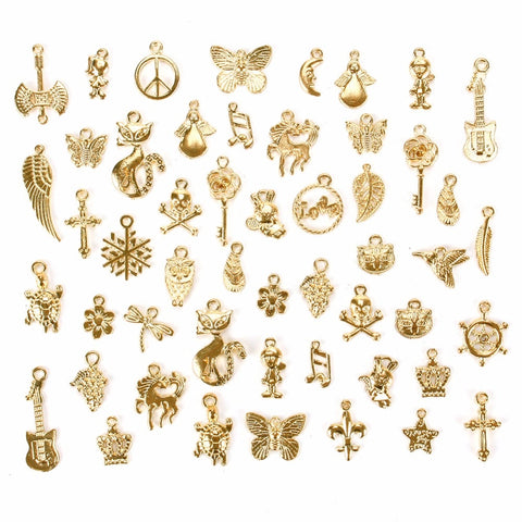 50 Pcs/Set Lots Gold/Silver/ Bronze Mixed Styles Charm Pendants DIY Jewelry for Necklace Bracelet Craft Findings #240209