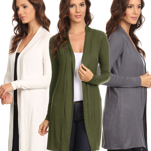 3 Pack Women's Long Cardigan Open Front S to 3X Athleisure: GUNM/IVORY/OLIVE - Cozzoo