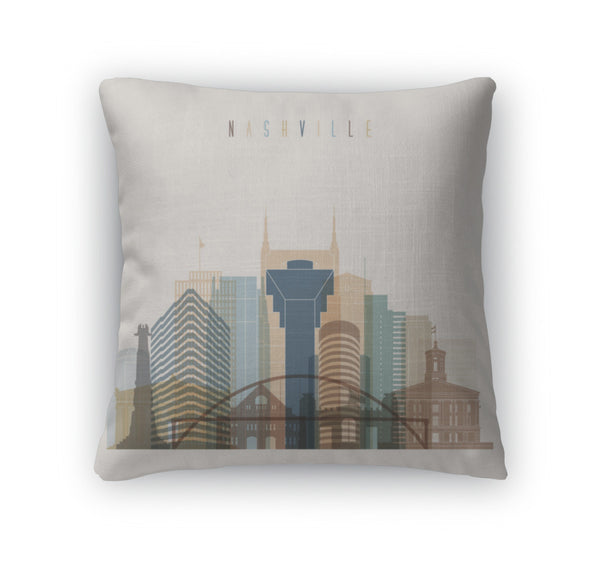 Throw Pillow, Nashville State Tennessee Skyline Detailed Silhouette - Cozzoo