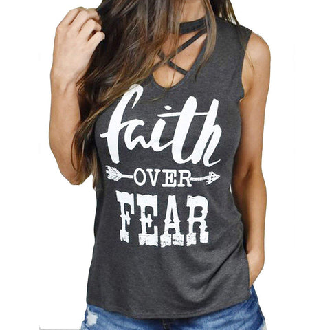 Faith Over Fear Women's Print High Low Tops V Neck Choker T-Shirt Tank Top - Cozzoo