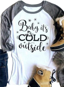 Baby It's Cold Outside Women's Christmas Snowman Letters 3/4 Sleeve T-shirt - Cozzoo