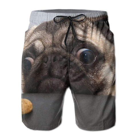 Funny Dog Pug Men's/Boys Casual Swim Shorts Trunks Swimwear Swimsuit Bathing Suit - Cozzoo