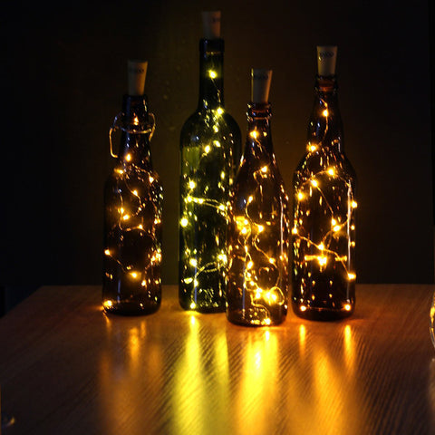 75CM 1M 2M Cork Shaped Wine Bottle LED Copper Wire Starry String Light Halloween Christmas Holiday Party Indoor Decoration Light