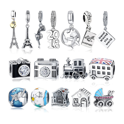 925 Sterling Silver Travel Dream House Eiffel Tower Pendant Charm Fit Original Charm Bracelet DIY Beads for Women Jewelry Making