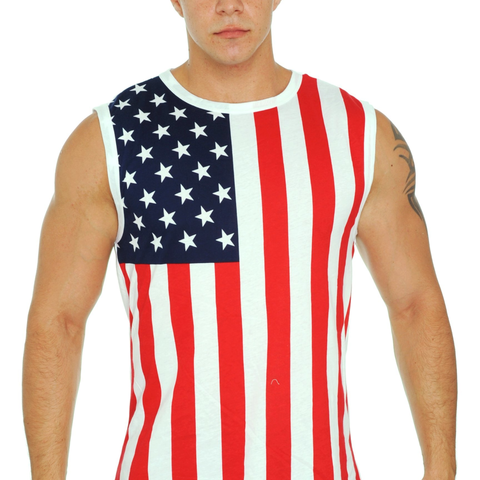 New Men's Proud American United States Flag USA Sleeveless T-Shirt - Cozzoo