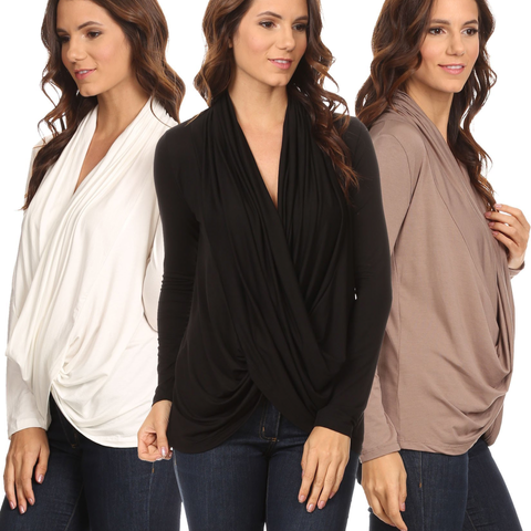 3 Pack Women's Long Sleeve Criss Cross Cardigan: BLACK/COFFEE/IVORY - Cozzoo