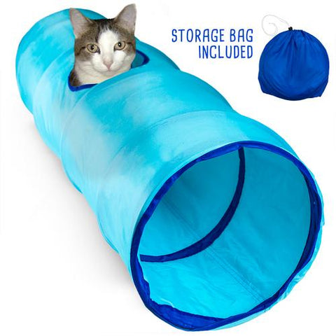 "36"" Blue Krinkle Cat Tunnel with Peek Hole and Storage Bag"