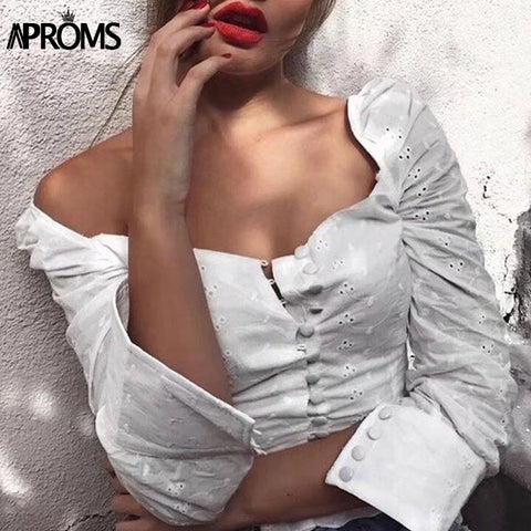 Aproms Sexy Square Neck Long Sleeve Lace Crochet Blouse Shirt Women Button Down White Crop Tops Summer High Street Blusas - Cozzoo
