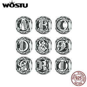 Authentic 925 Sterling Silver Vintage A to Y, Clear CZ Letter Charms Fit Original WST Bracelets & Bangles Silver Jewelry