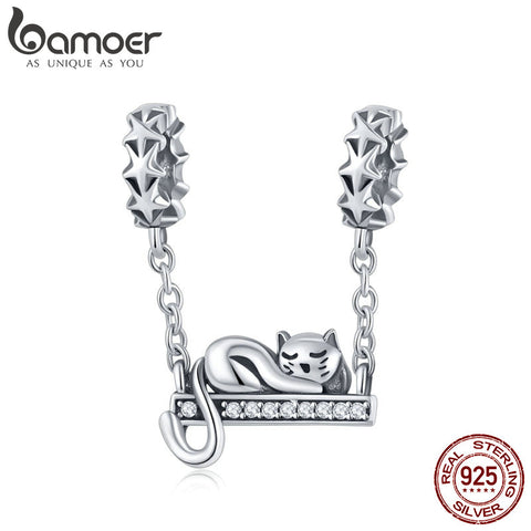 BAMOER 11.11 Deal 925 Sterling Silver Adorable Cat Stackable Star Charms Star Pave Charm Fit Bracelet & Necklaces Jewelry SCC856
