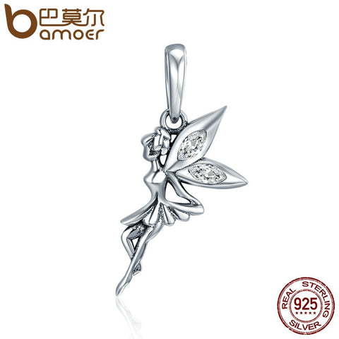 BAMOER Authentic 925 Sterling Silver Flower Fairy Dangle Pendant Charms fit Women Charm Bracelets & Necklaces jewelry SCC359