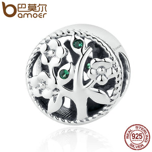 BAMOER Fashion 100% 925 Sterling Silver Tree of Life Bead Charms fit Bracelets Women Beads & Jewelry Making SCC115