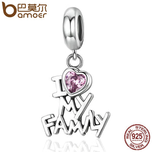 BAMOER Genuine 925 Sterling Silver I Love My Family Heart Dangle Charms fit Women Charm Bracelets Jewelry Family Gift SCC251