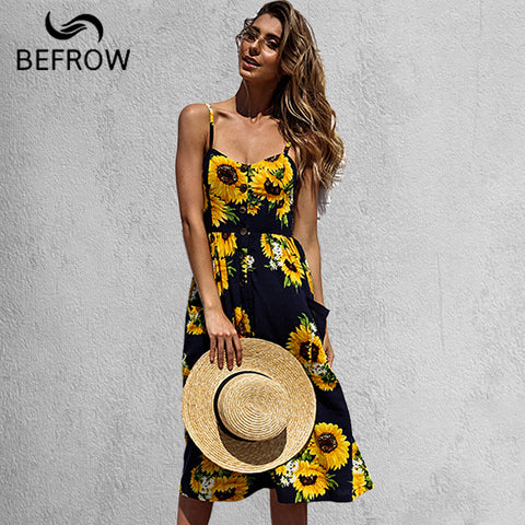 BEFORW Women's Sexy Summer Backless Button Down Striped Print Swing Midi Dress With Pockets White Boho Vintage Beach Dress - Cozzoo