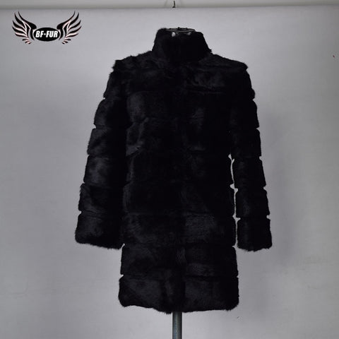 BFFUR Affordable Real Fur Coat Rabbit Jacket Fashion Slim Genuine Fur Coat Full Pelt Plus Size Women Winter Down Coat With Fur - Cozzoo