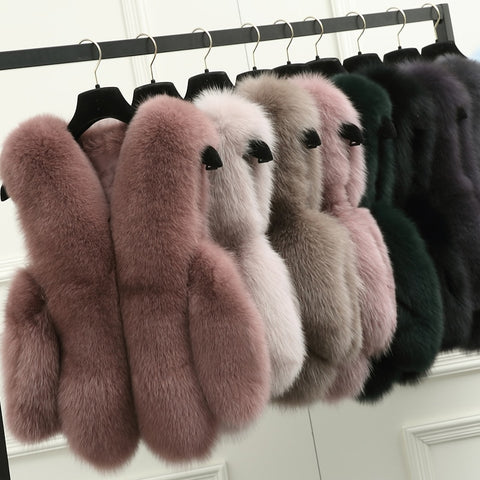 BFFUR Natural Real Fox Fur Vest is 50 cm Stylish Winter Short Thick Women Fur Vest Jacket Pockets Real Fur Vest Coats Slim Solid - Cozzoo