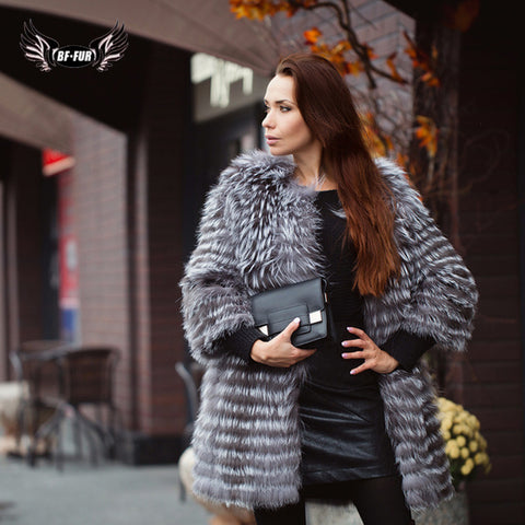 BFFUR Real Fur Coat Luxury Women Winter Fashion Style Natural Fur Vest Coat Female Silver Fox Fur Coat Russian Fur Coats Slim - Cozzoo