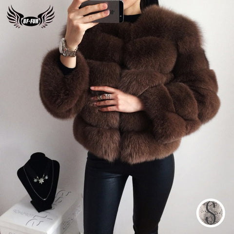 BFFUR Real Fur Coat luxury Women Winter Fashion Style Natural Fur Vest Lady Whole Fox Fur Coats Top Quality Real Fur C0011 - Cozzoo