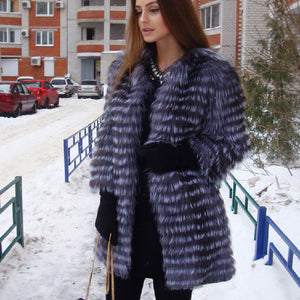 BFFUR Women's Winter Real Fox Fur Coat 2018 NEW Ladies thick Warm Medium Long Female Fur Jacket Fox Fur Gilet Fur Coat - Cozzoo