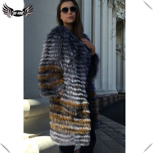 BFFUR Women's Winter Real Fox Fur Coat 2018 New fashion Silver Fur Jacket Striped Style Overcoat Women Fox Fur Outerwear - Cozzoo