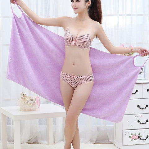 Fashion Lady Girls Wearable Fast Drying Magic Bath Towel Beach Spa Bathrobes Bath Skirt LB - Cozzoo