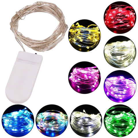 Battery Powered 10 20 Led Fairy String Light 1M 2M 4M Silver Copper Wire Mini Lamp For Christmas Holiday Wedding Party 8 Colors