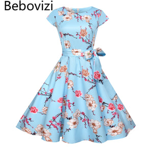 Bebovizi Women Vintage 50s 60s Rockabilly Office Dresses Pinup Floral Print Retro Audrey Hepburn Dress for Housewife Vestidos - Cozzoo