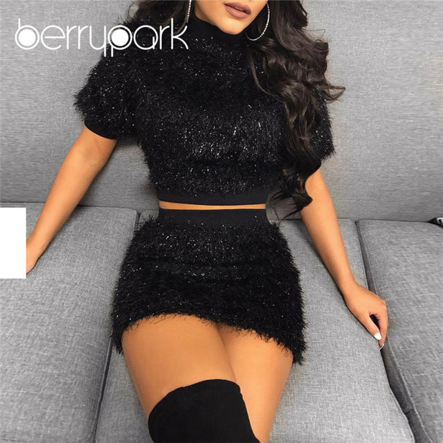 90898610325 BerryPark White Faux Fur Feather Womens 2 Piece Sets 2019 Winter Warm  Velvet Crop Top and Skirt Set Party Outfit - Cozzoo