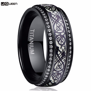 Black Carved Flower Dragon Luminous Titanium Steel Tungsten Ring For Men Stainless Steel Ring For Boyfriend Husband Gift - Cozzoo