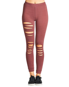 Ripped design stretch-knit leggings - Cozzoo