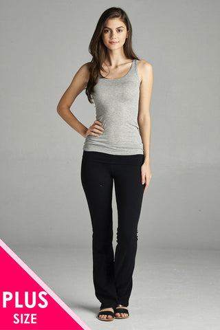Ladies fashion plus size full length leggings with flare bottom detail and fold over waist - Cozzoo