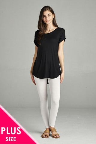 Ladies fashion plus size basic full-length cotton spandex leggings - Cozzoo