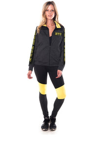 Ladies fashion active sport yoga / zumba 2 pc set zip up jacket & leggings outfit - Cozzoo