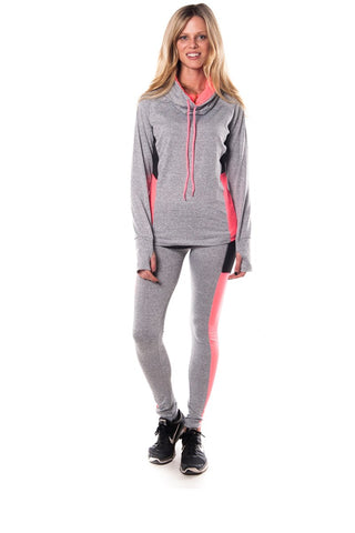 Ladies fashion plus size active sport yoga / zumba 2 pcs set with pull over jacket & leggings outfit - Cozzoo