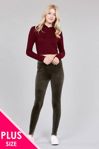 Ladies fashion plus size velvet leggings - Cozzoo