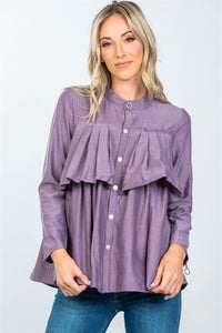 Layer pleated button down top - Cozzoo