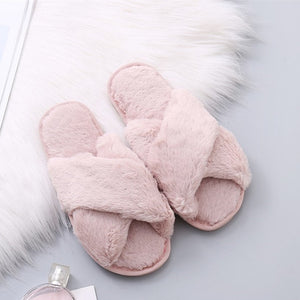 701c742fa84fa7 COOTELILI Women Home Slippers Winter Warm Shoes Woman Slip on Flats Slides Female  Faux Fur Slippers ...