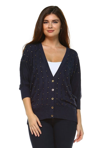 Women's Button Up Studded Cardigan - Cozzoo