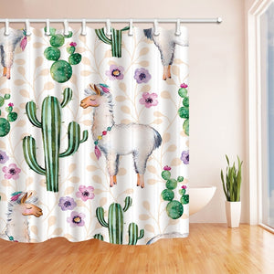 Cactus Flower Green Plant Shower Curtain Waterproof Mildewproof Bathroom Polyester Thickened Products With Hook