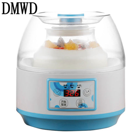 DMWD Household Electric Yogurt Maker Multifunction natto Leben fermenter Automatic rice wine fruit Enzyme Machine 2L Glass Liner - Cozzoo