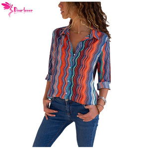 Dear Lover Blouses for Women Casual Tops Eye-catching Zigzag Long Sleeve Button Down Shirt Feminina Camisas LC251153 - Cozzoo