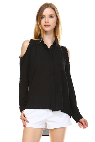 Women's Cut-out Shoulder Button Down Chiffon Top - Cozzoo