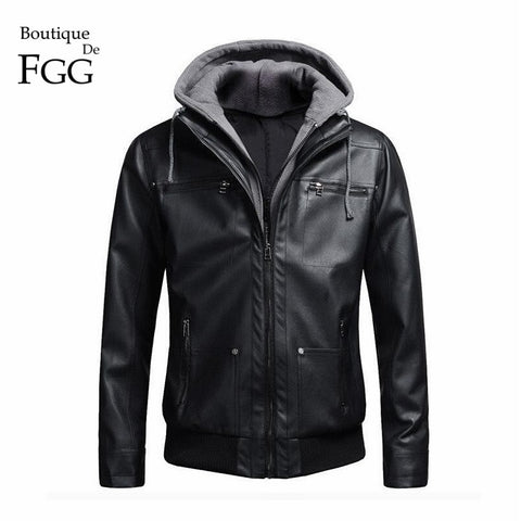 """European Size"" Detachable Cotton Black Hooded Motorcycle Biker Men PU Leather Jacket and Coat Slim Fur Inside Jaqueta Couro - Cozzoo"