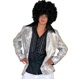 DISCO JACKET SILVER ADULT MED - Cozzoo