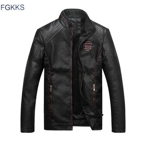 FGKKS Winter Brand Men Leather Jacket Fashion Motorcycle PU Leather Male Winter Jackets Outerwear Coats Faux Leather Coat