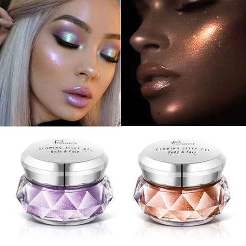 Face Highlighter Jelly Gel Mermaid Eyeshadow Glow Body Glitter Festival Makeup iluminador Gold Liquid Highlighter Pink Bronzer - Cozzoo