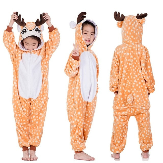 2dcac98147d Flannel Kids Animal Pajamas For Boys Girls Cute Unicorn Lion Pegasus  Cosplay Winter Hooded Children Sleepwear ...