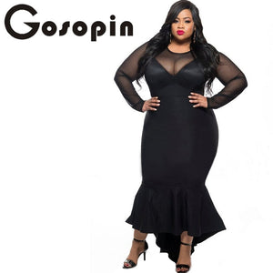 Gosopin Plus Size Women Sexy Clubwear Dress Black Mermaid High Low Maxi Ladies Formal Dresses XXL Party Long Sleeve 61086 - Cozzoo